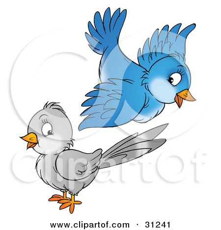 Royalty-free animal clipart picture of a cute blue bird flying above a gray