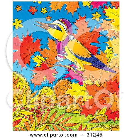 Clipart Illustration of a Yellow Bird With Blue And Purple Markings, Wearing A Hat And Scarf, Perched On The Branch Of A Maple Tree With Fall Foliage, Against A Blue Sky by Alex Bannykh