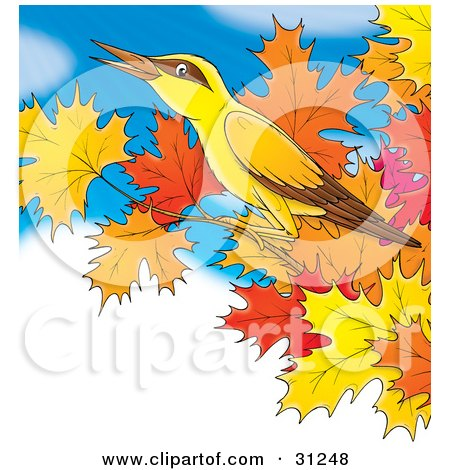 Clipart Illustration of a Yellow Bird With Brown Markings, Perched On The Branch Of A Maple Tree With Autumn Foliage, Against A Blue Cloudy Sky by Alex Bannykh