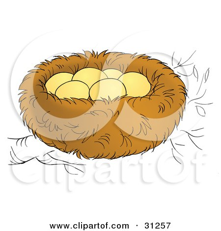 Clipart Illustration of Six Eggs In A Warm Nest On A Tree Branch by Alex Bannykh