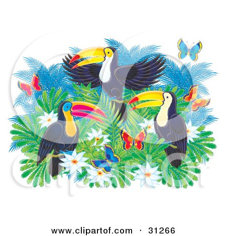 Clipart Illustration of Three Colorful Toucans On Top Of A Tree With White Flowers And Butterflies by Alex Bannykh