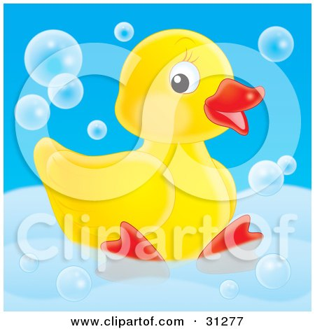 Clipart Illustration of a Cute Yellow Rubber Duck Relaxing In A Tub With Bubbles, On A Blue Background by Alex Bannykh
