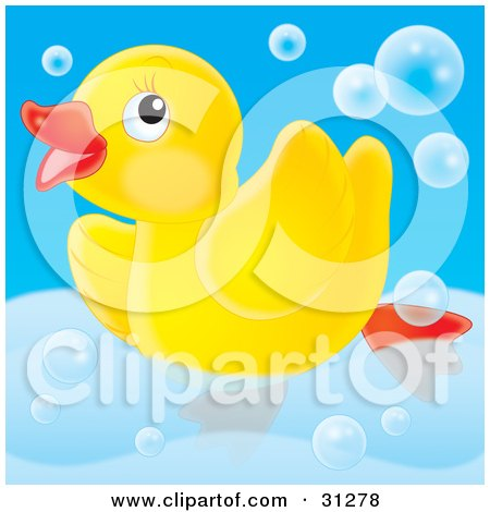 Clipart Illustration of a Cute Yellow Rubber Ducky Swimming Around In A Tub With Bubbles, On A Blue Background by Alex Bannykh