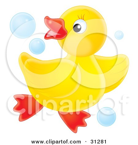 Clipart Illustration of a Playful Yellow Rubber Ducky Dancing In Blue Bubbles, On A White Background by Alex Bannykh