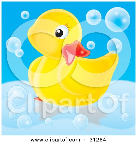 Clipart Illustration of a Cute Yellow Rubber Duck Posing In A Tub, Surrounded By Bubbles, On A Blue Background by Alex Bannykh
