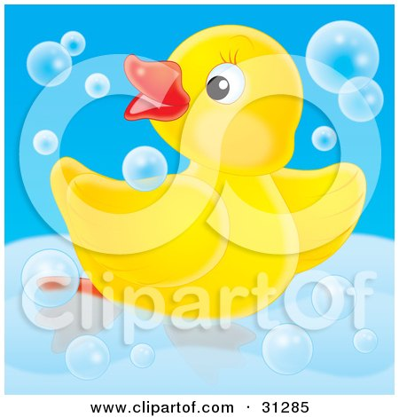 Clipart Illustration of a Playful Yellow Rubber Duck Dancing In Blue Bubbles In A Tub, On A Blue Background by Alex Bannykh