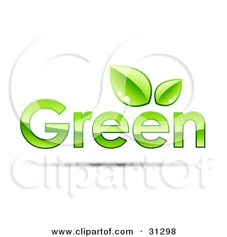 GREEN Text With Two Leaves Above The Second Letter E Posters, Art Prints
