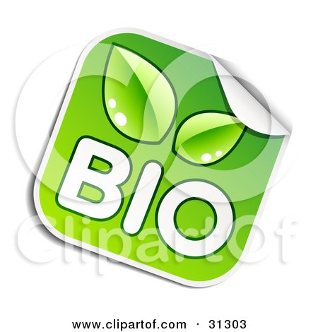 Clipart Illustration of a Square Sticker With White BIO Text And Green Leaves, Peeling In The Corner by beboy