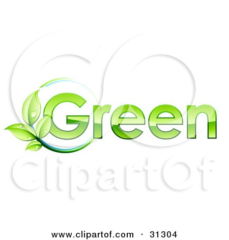 Clipart Illustration of a Leafy Vine On A Circle Of Blue By GREEN Text by beboy
