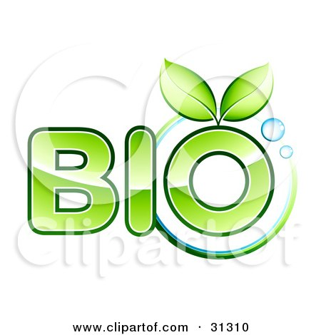 Clipart Illustration of Two Green Leaves Sprouting From The O Of The Word Bio Text, With A Circle And Bubbles by beboy