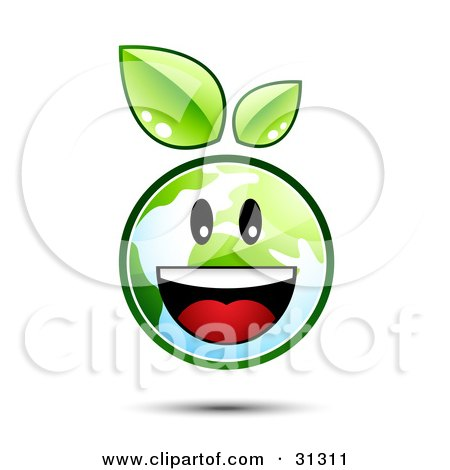 Clipart Illustration of a Happy And Energetic Earth Character With Green Leaves Above, Smiling by beboy