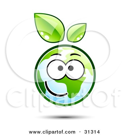Clipart Illustration of a Happy Earth Character With Green Leaves Above, Smiling by beboy