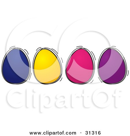Clipart Illustration of Four Blue, Yellow, Pink And Purple Colored Easter Eggs In A Row by suzib_100
