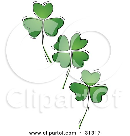 Clipart Illustration of Three Falling Green Four Leaf Shamrock Clover Leaves, On A White Background by suzib_100