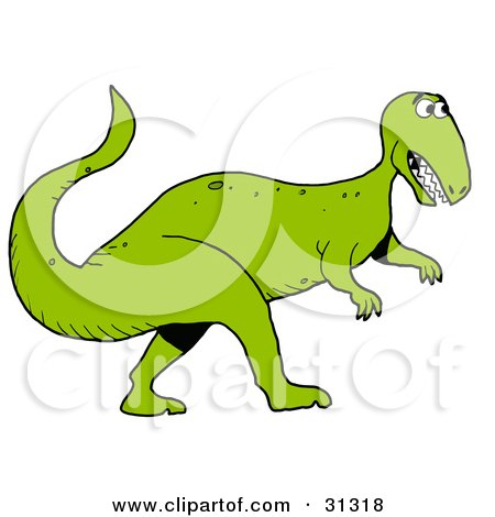 Clipart Illustration of a Green Tyrannosaurus Rex Dinosaur In Profile, Facing To The Right by LaffToon