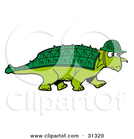 Clipart Illustration of a Green Armored Dinosaur With A Spiked Back Plate, Wearing A Hat by LaffToon