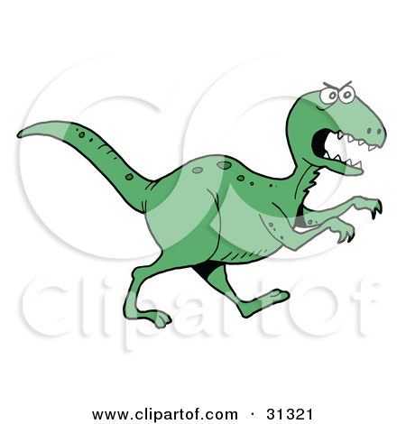 Clipart Illustration of a Mad Green T-Rex Dinosaur In Profile, Running To The Right by LaffToon