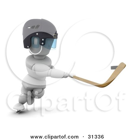Clipart Illustration of a White Character In A Helmet, Swinging A Hockey Stick To Whack The Puck by KJ Pargeter