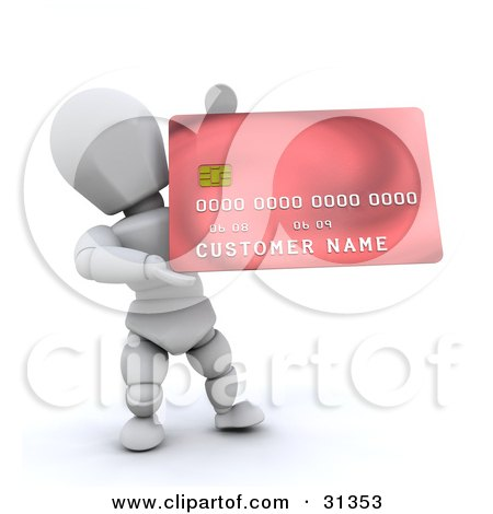 Clipart Illustration of a White Character Presenting A New Red Credit Card by KJ Pargeter