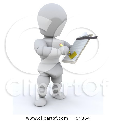 Clipart Illustration of a White Character Taking Notes Down On A Clipboard, A Supervisor, Manager, Or Someone Taking Inventory by KJ Pargeter