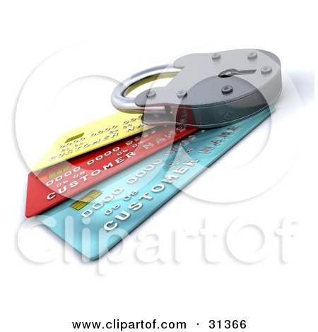 Clipart Illustration of a Locked Padlock On Top Of Blue, Red And Yellow Credit Cards, Symbolizing Security, Https, And Debt by KJ Pargeter
