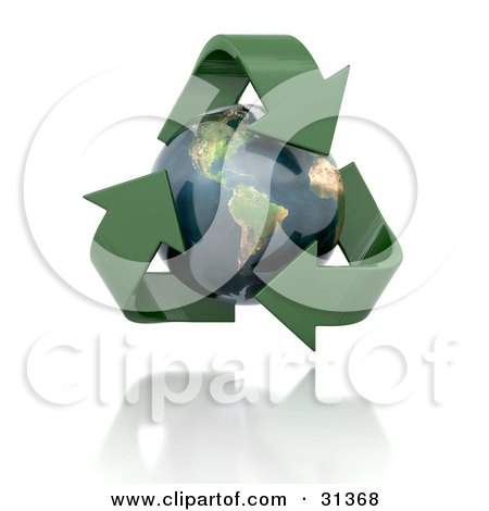 Clipart Illustration of a Globe With The American Continents Featured, Circled By Green 3d Arrows by KJ Pargeter