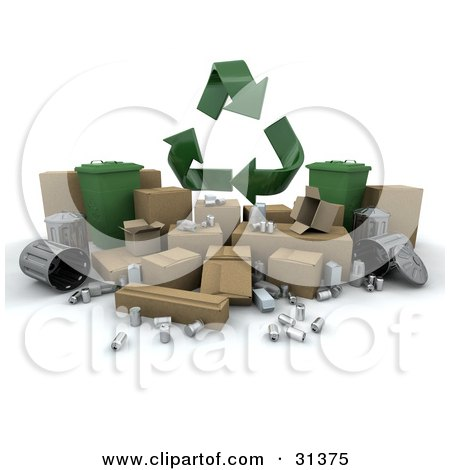Clipart Illustration of 3d Recycle Arrows Above Aluminum, Cardboard And Trash Cans by KJ Pargeter