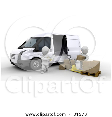 Clipart Illustration of a Manager Taking Inventory On A Clipboard While A Worker Unloads Shipping Boxes From A Van by KJ Pargeter