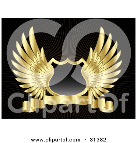Clipart Illustration of a Black Shield With Golden Wings And A Blank Banner, On A Black Background by KJ Pargeter