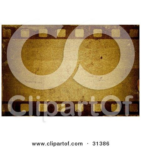 Clipart Illustration of a Blank Vintage Frame On A Film Strip, In Brown Tones by KJ Pargeter