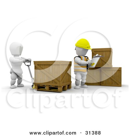 Clipart Illustration of a Manager Writing Inventory Down While A Worker Moves Crates by KJ Pargeter