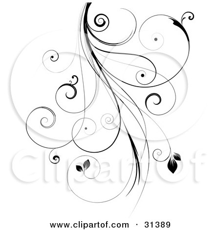 Clipart Illustration of a Black Intricate Curly Vine With Leaves, Over White by KJ Pargeter