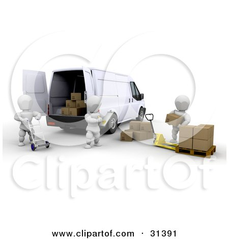 Clipart Illustration of a Supervisor Taking Inventory Of Supplies While Workers Load A Delivery Van by KJ Pargeter