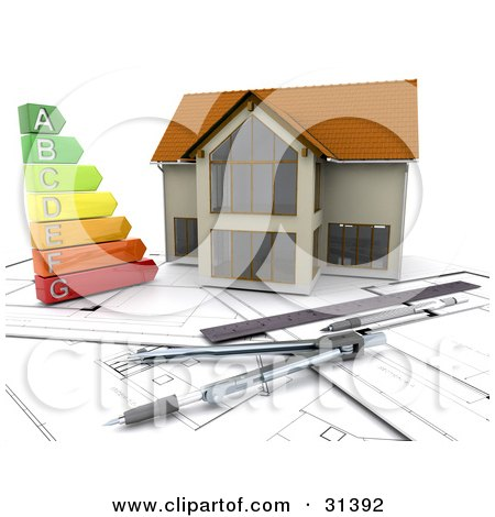 Clipart Illustration of a Colorful Energy Graph On Blueprints By A Model Home With Architect Tools by KJ Pargeter