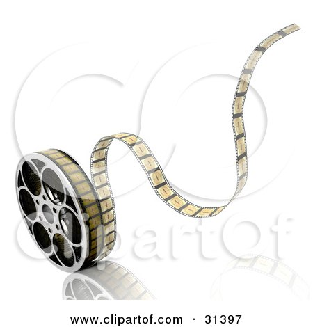 Clipart Illustration of Tape Rolling Off Of A Film Reel, On A White Background With A Reflective Surface by KJ Pargeter