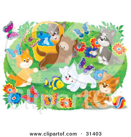 Clipart Illustration of a Group Of Kittens Playing With A Toy Fish And Chasing Butterflies Outdoors In A Flower Garden by Alex Bannykh