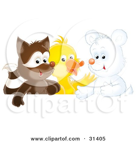 Clipart Illustration of a Cute Badger, Duck And White Bear Cub by Alex Bannykh