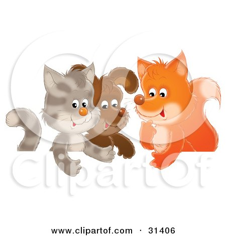 Clipart Illustration of a Cute Cat, Puppy And Fox Chatting In A Group by Alex Bannykh