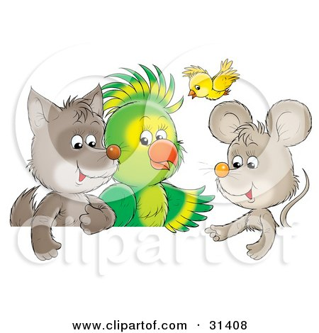 Clipart Illustration of a Cute Baby Wolf, Parrot, Yellow Bird And Mouse Chatting by Alex Bannykh