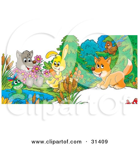 Clipart Illustration of a Cute Wolf Holding Flowers, A Frog On A Lily Pad, Bunny Sitting On A Stump With A Carrot And Fox Chatting With A Bird by Alex Bannykh