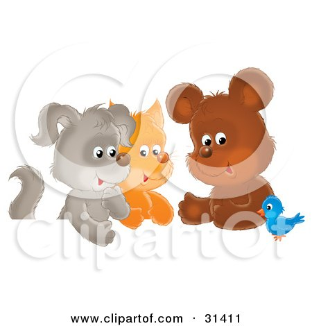 Clipart Illustration of a Bluebird Chatting With A Cute Bear, Kitten And Puppy by Alex Bannykh