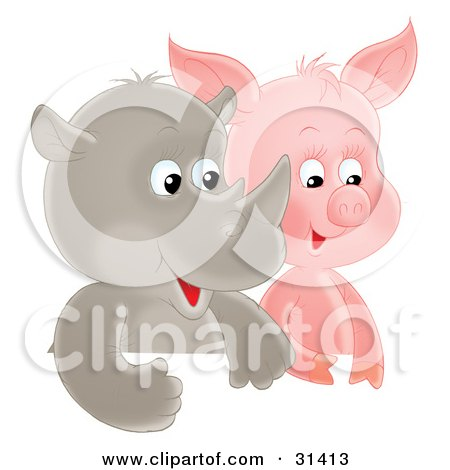 Cute Baby Rhino And Piglet Side By Side Posters, Art Prints