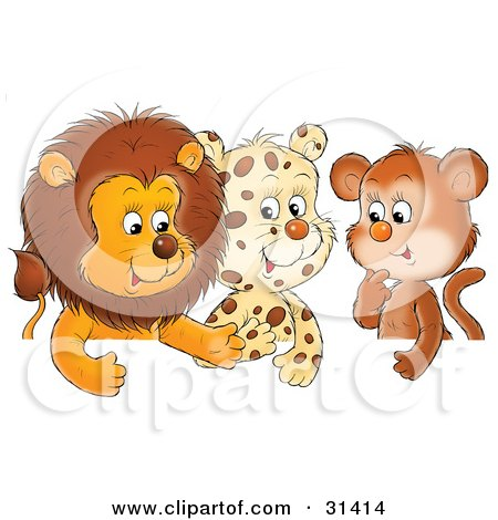 Group Of Friends, A Cute Baby Lion, Leopard And Monkey, Chatting Posters, Art Prints