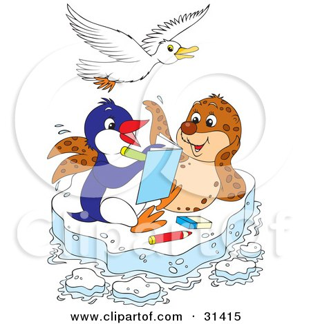 Seagull Flying Over A Seal And Penguin Coloring In A Book On A Floating Sheet Of Ice Posters, Art Prints