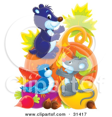 Clipart Illustration of a Cute Mouse, Gopher And Bird With An Abundant Amount Of Veggies by Alex Bannykh