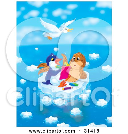 White Gull Flying Above A Seal Chatting With A Penguin Who Is Drawing In A Book On A Floating Ice Sheet On A Beautiful Day Posters, Art Prints