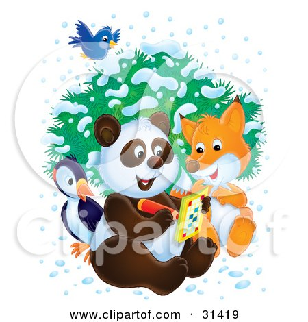Bluebird Flying Over A Bird, Fox And Panda As They Write In An Activity Book On A Wintry Day Posters, Art Prints