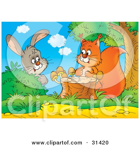 Clipart Illustration of a Curious Bunny Rabbit Behind A Bush, Watching A Squirrel By A Tree Stump With Mushrooms by Alex Bannykh