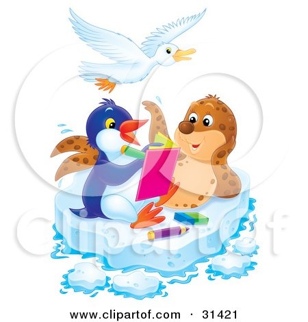 Clipart Illustration of a Seal Posing For A Penguin Artist On A Sheet Of Ice, A Bird Flying Above by Alex Bannykh