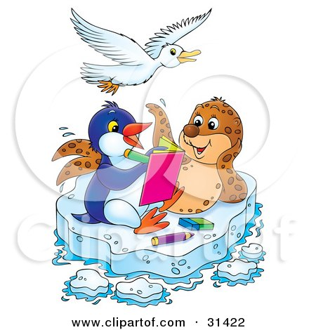White Bird Flying Over A Seal And Penguin Coloring In A Book On A Floating Sheet Of Ice Posters, Art Prints